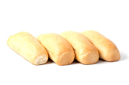 single loaf of fresh baked baguette bread isolated on white background