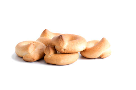 Shortbread biscuits on a white background.