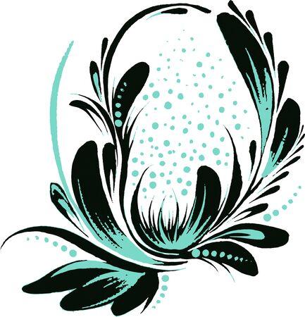 black-blue floral illustration. perfect black Illusztráció