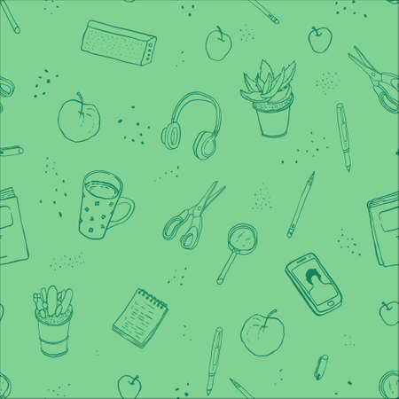 A pattern with self-education things. Book, pen, apples, magnifier, tea mug, smartphone, notepad, headphones, potted plant, scissors. Vector isolated illustration.