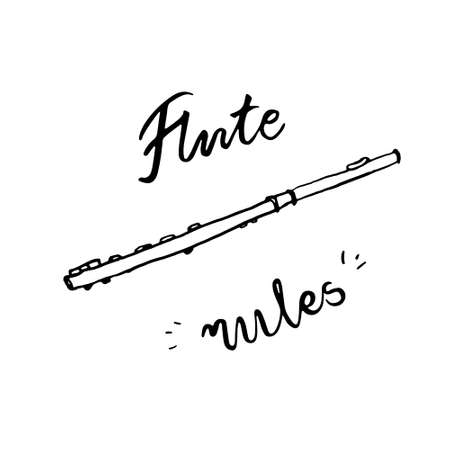 Transverse flute and lettering Flute rules. Ink sketch vector illustration isolated on white background.