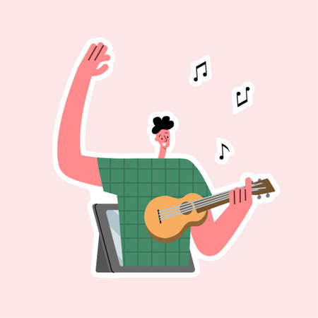 Online music. Online music lessons. Young man plays the ukulele on the tablet screen. Vector isolated illustration. Fully editable vector.