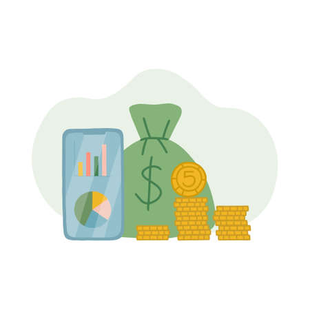The concept of saving and investing money. Gold coins in piles, a bank bag with money, a smartphone with capital growth charts and budget expenditure items. Vector isolated illustration. Vettoriali