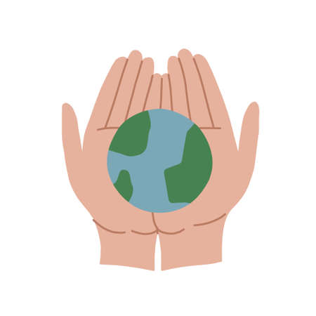 The man holds the earth in his palms. Adult hands are holding the globe. We do not inherit the planet from our ancestors, but borrow from our children. Vector isolated illustration.