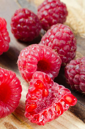 organic raspberry: Fresh Organic Raspberry on Rustic Background. Selective Focus.