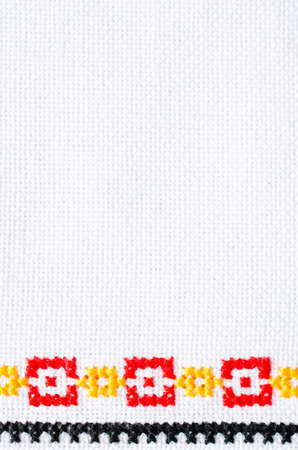 Element Handmade Embroidery On Linen By Red Yellow And Black