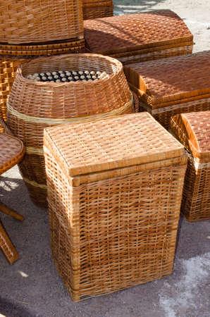 Bamboo or wooden wickerwork. Wicker brown texture. Basketry pattern.