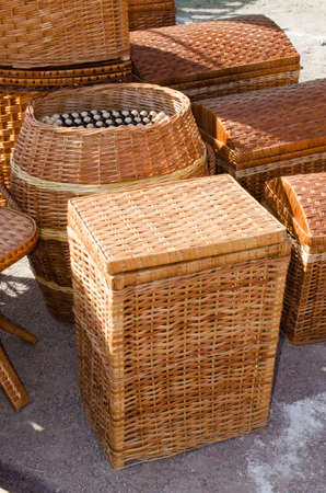 basketry: Bamboo or wooden wickerwork. Wicker brown texture. Basketry pattern.