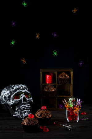 Halloween still-life background with a lot of different elements. Copy space dark photo.