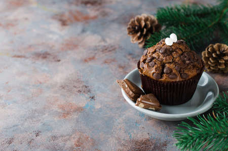Chocolate muffin and branches fir. Christmas time. Selective Focus. Copy space. Stock Photo