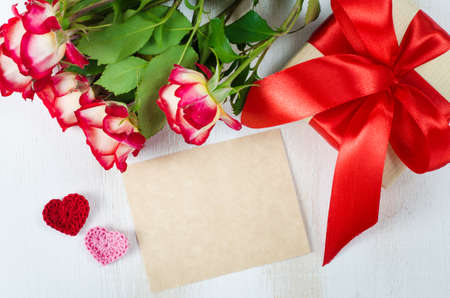 Empty Greeting Card With Copy Space For Your Own Text Red Roses