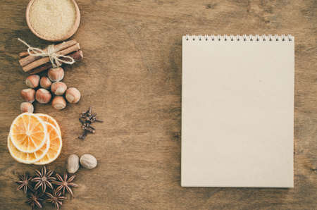 Notebook for writing recipe or menu. Culinary background.