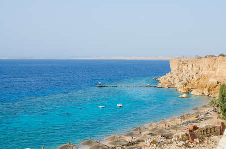 View of the Red Sea and the beach. Summer vacation at sea.
