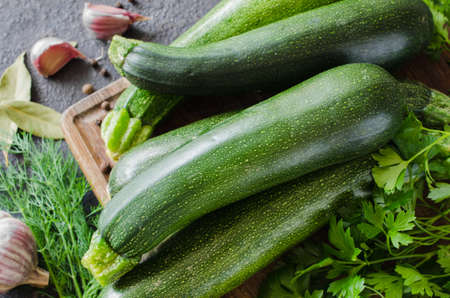 Organic zucchini, garlic and parsley, herbs and spices. Fresh farm products Stok Fotoğraf