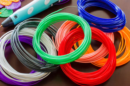Kit colored ABS plastic in coils for 3d pen and printer. Handmade. STEM education. New technology. Hobby after school.