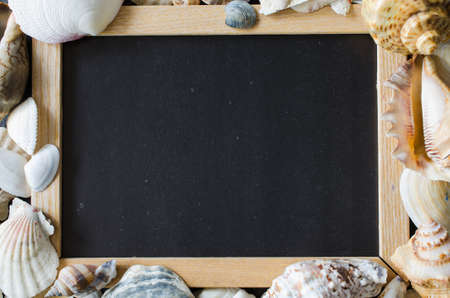 Empty chalkboard or photo frame with seashells. Summer background. Summer vacation concept. Copy space. Mock up. 写真素材
