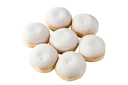 Traditional sweet donuts with powdered sugar and jam. Fat Thursday or Hanukkah celebration. Isolated on white.