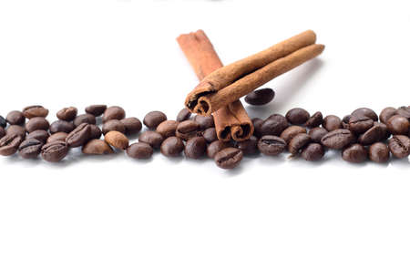 coffee beans with vanilla isolated on white background