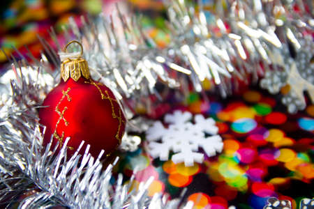 tawdry: bright Christmas balls with reflections and colored tinsel