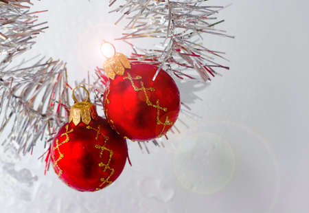 trumpery: bright Christmas balls with reflections and colored tinsel