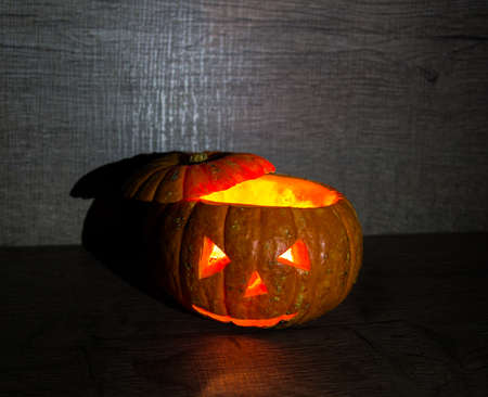 scary pumpkin for Halloween holiday, background, decoration