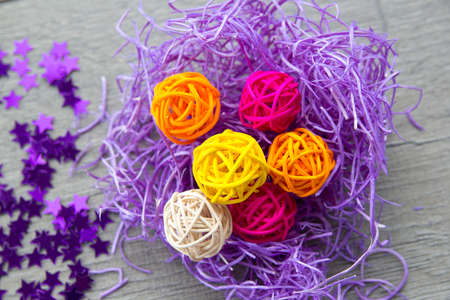stark: bright background , colored balls bark color stark