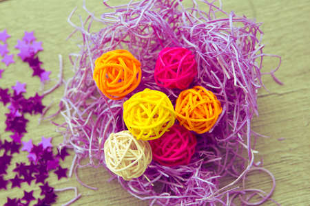bright background , colored balls bark color stark