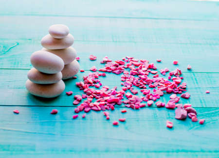 From spa stones make Balances pyramids. pebbles, the concept of health and relaxation Stock Photo