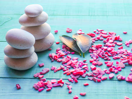 Spa still life with stones, flowers, water drops, relax, the calm, luxurious life, the concept of restoring health and youth