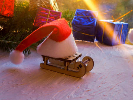 Christmas still life of a toy sled, Vintage photo, Gifts for Christmas on wooden sled, Merry Christmas tree transporter bringing gifts to all the sweethearts on x mas evening, Christmas, decor, sleigh