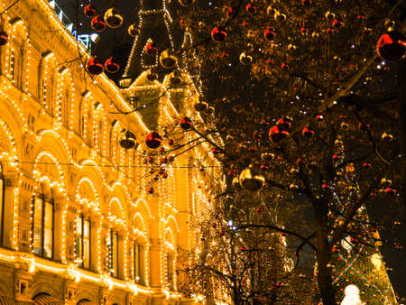 Festive illuminations in the streets of the city. Christmas in Moscow, Russia. Red Square.