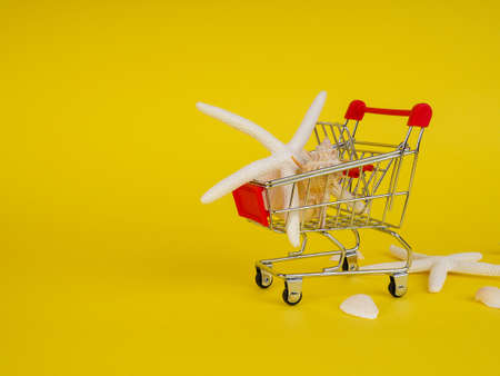 supermarket trolley on yellow background, shells inside, release, Concept of shopping. Copy space for advertisement Stock Photo