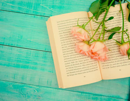 book novel in German is open, on it gentle roses, reading, concept of romance