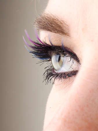 Close-up of eye, the human eye sideways, girls eyes with big false eyelashes.