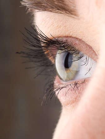 Close-up of eye, the human eye sideways,girls eyes with big eyelashes, natural beauty.
