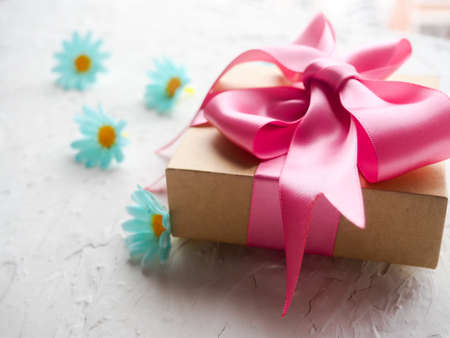 Cute decorated gift set gift with pink ribbon authentic on white background