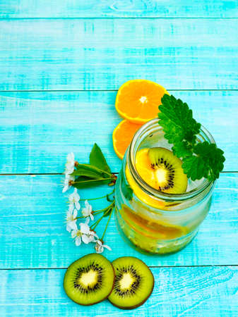 infused detox water with citrus and ice and mint for diet healthy eating and weight loss with space for a text Stockfoto