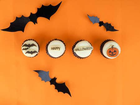 Group of halloween cupcakes.