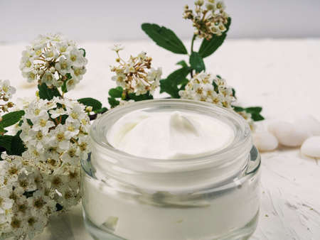 face and body cream on a white background, self-care, health and beauty.