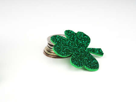 green clovers or shamrocks, Green hat isolated on white background. St. Patricks Day Holiday concept. Spring background.