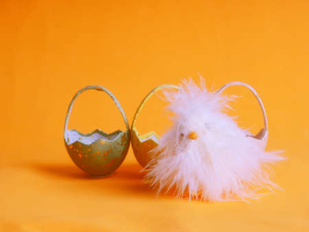 Small white chicken next to colored eggs for Easter on orange. 版權商用圖片