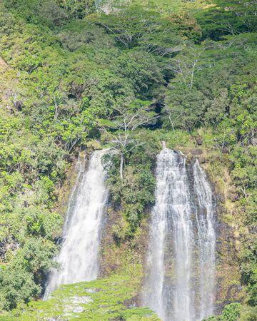 Opaekaa Falls with lush foliage, on Kauai