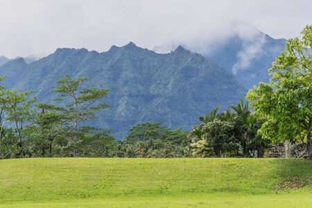 Tropical mountain range with some cloud cover, with some trees and grass in the foreground