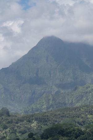 Cloudy sky and majestic Mt. Waialeale, on Kauai Stock Photo