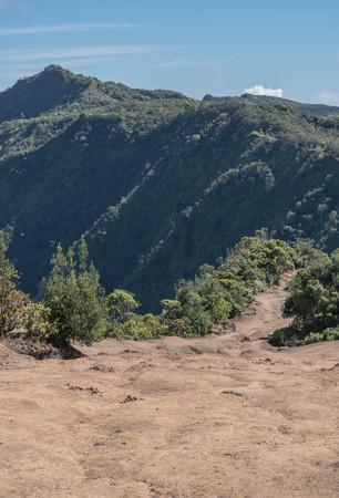 ピヘア pu ' u o キラ目を光らせて、カウアイ島のトレイル ヘッドをハイキング 写真素材