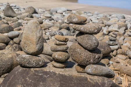 Close up of stacked rocks on the beach
