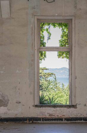 古い壁、床、およびウィンドウ フレームを通して美しい外の景色との断念された建物にウィンドウ