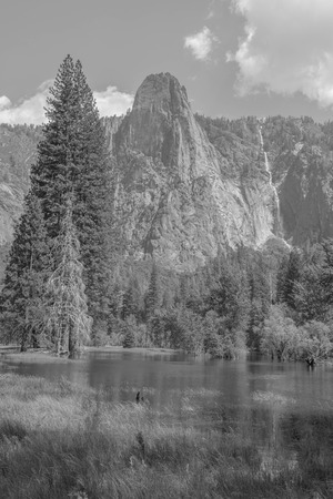 Black and white landscape, with pine trees, pond, mountains and far-off waterfall, in Yosemite National Park