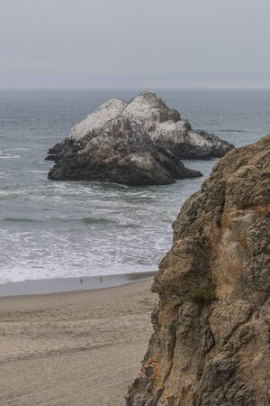 Cliff-side in the foreground, sandy beach below, the ocean with a large rock covered in bird droppings, the horizon, on a gloomy day