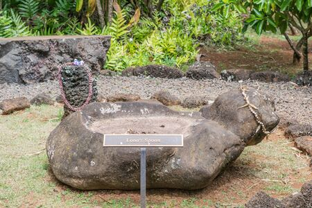 Lonos Spoon rock formation, in the Hawaiian Rock Garden at Kukuiolono Park, in Kalaheo, Kauai